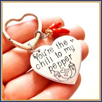 Personalised Cute Chili Pepper Keyring For Couple - Metal Heart Shaped Valentine's Keyring - You're The Chili To My Pepper Keyring - Chili