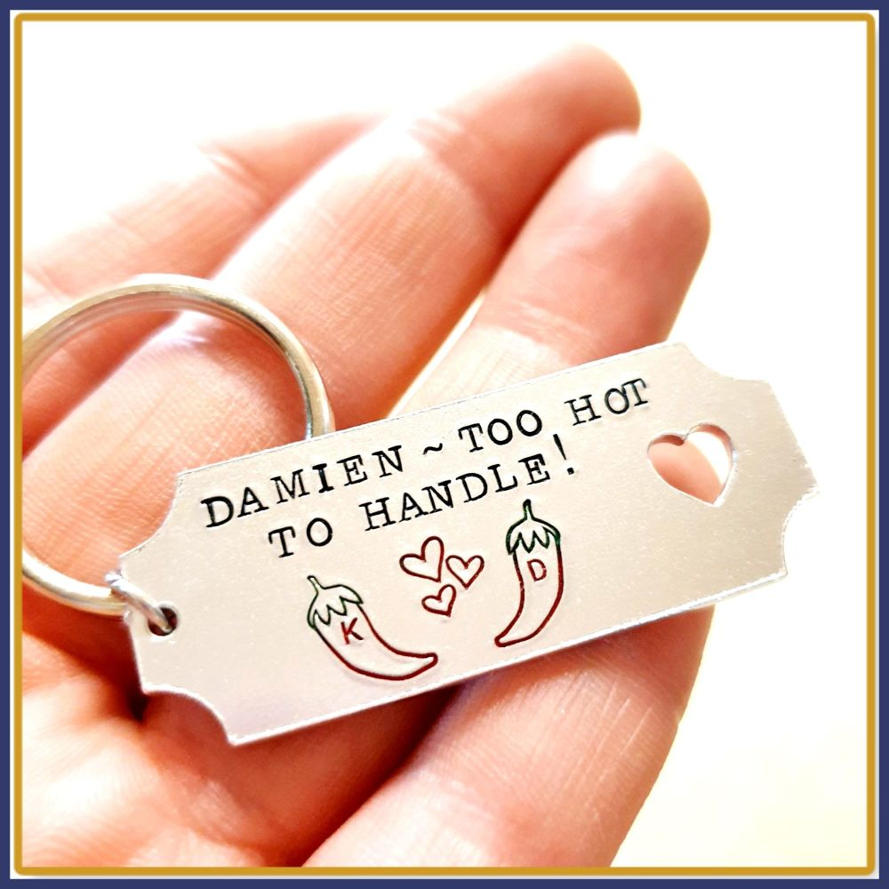 Personalised Couple Chili Pepper Keyring - Too Hot To Handle Valentine's Ke