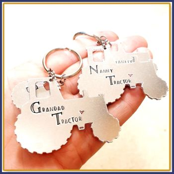 Personalised Tractor Keyring - Grandad Belongs To Tractor Keyring - Nanny Belongs To Tractor Keyring - Gift For Farmers - Tractor Keychain
