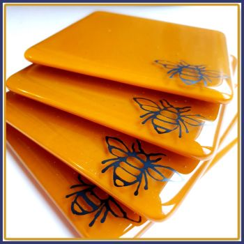 Fused Glass Bee Coasters - Bee & Honey Themed Coasters - Butterscotch Home Decor Coasters - Home Decor Gift For Bee Lover - Honey Coasters