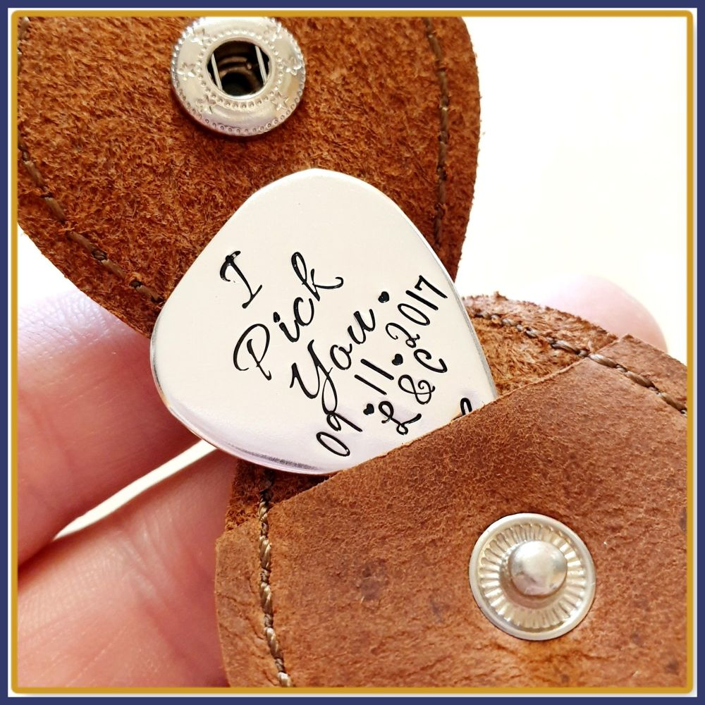 Personalised Sterling Silver I Pick You Guitar Pick With Leather Case - Sil