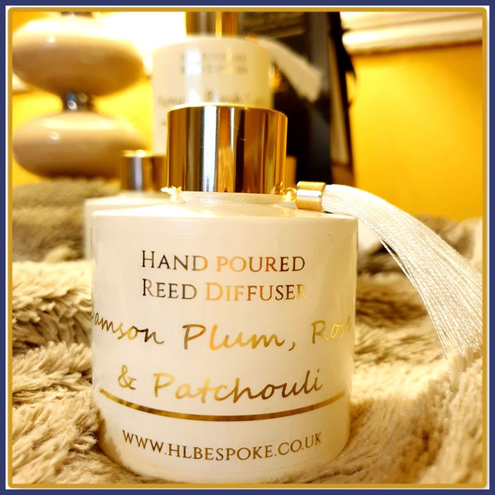 Personalised Damson Plum, Rose & Patchouli Reed Diffuser - Highly Scented W