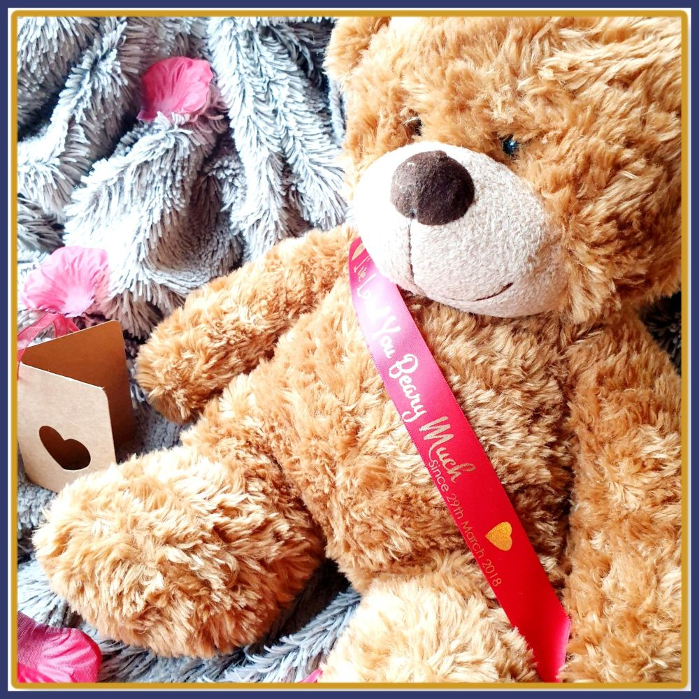 Personalised Valentines Teddy Bear - 33cm Brown Bear With Sash - Gift For H