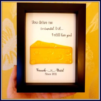 Framed Cheesy Valentine's Gift - Fused Glass Swiss Cheese Valentines Gift - Couple Gift For Cheese Lovers - Super Cheesy Pun Gift Valentines