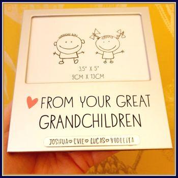 Personalised Great Grandchildren Photo Frame - Gift For Great Grandparent - Silver Photo Frame Great Grandparents - Grandparent Photo Gift