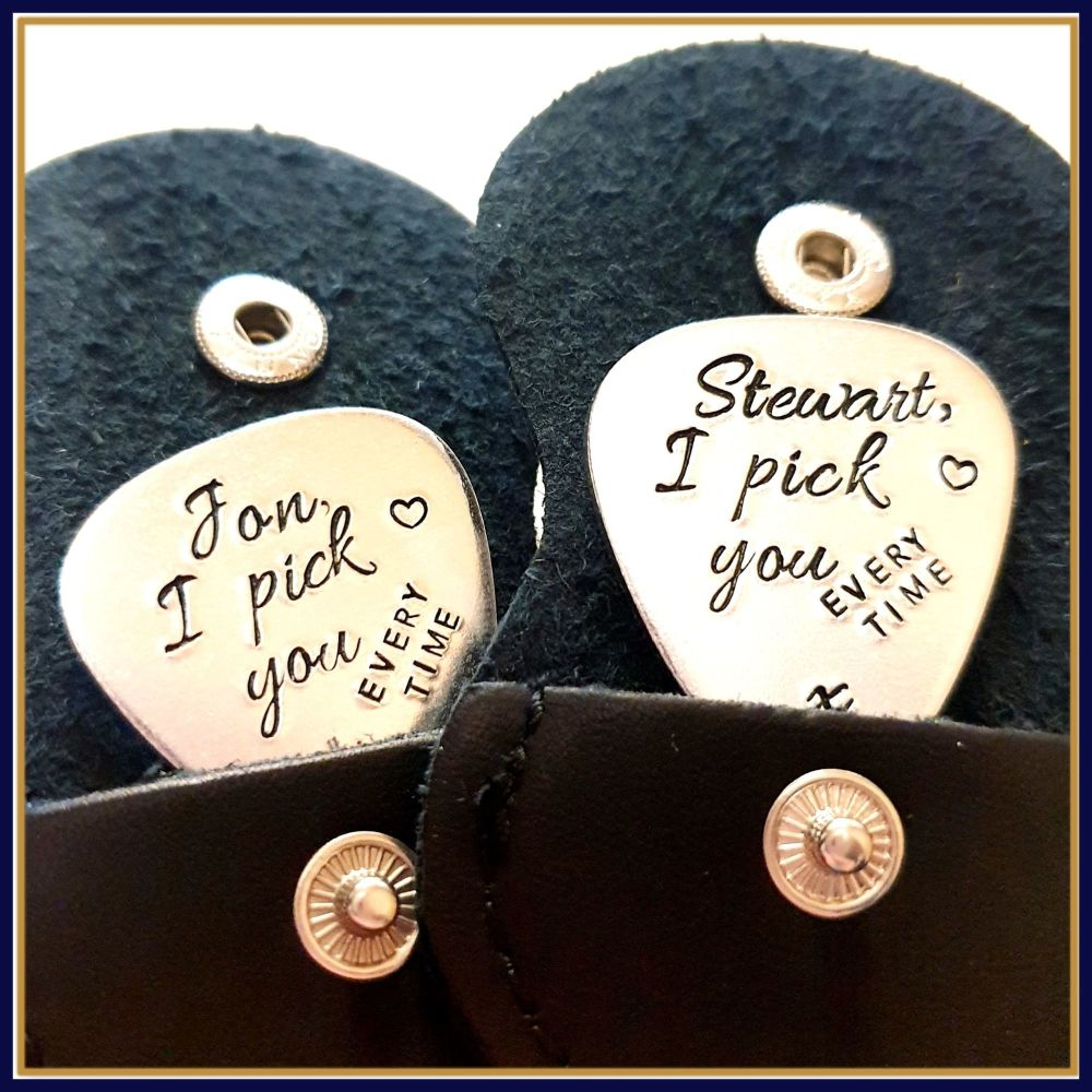 Copper Guitar Pick - I Pick You Every Time - Personalised Guitar Pick - Val