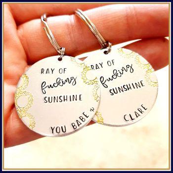 Ray Of Fucking Sunshine Keyring - Profanity Sunshine Gift - Gift For Moody Person - Ray Of Sunshine Keyring