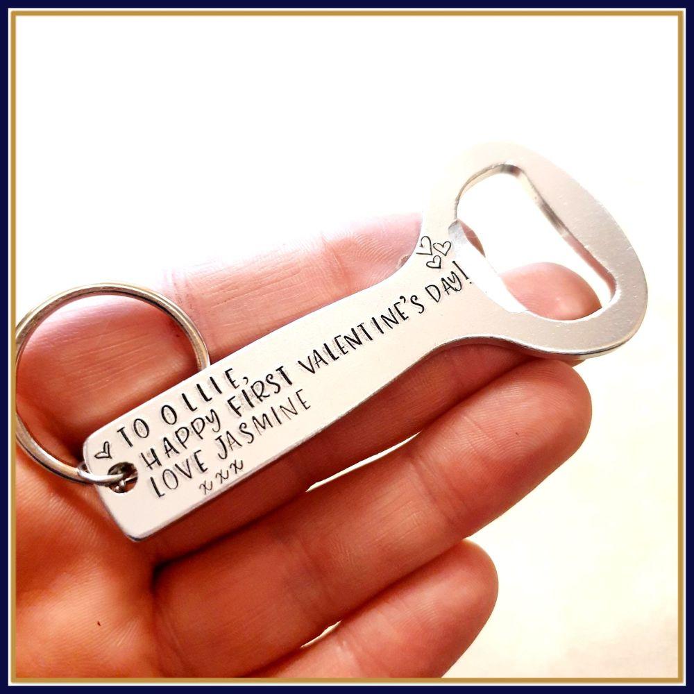 Personalised First Valentine's Day Bottle Opener Gift - Bottle Opener For V