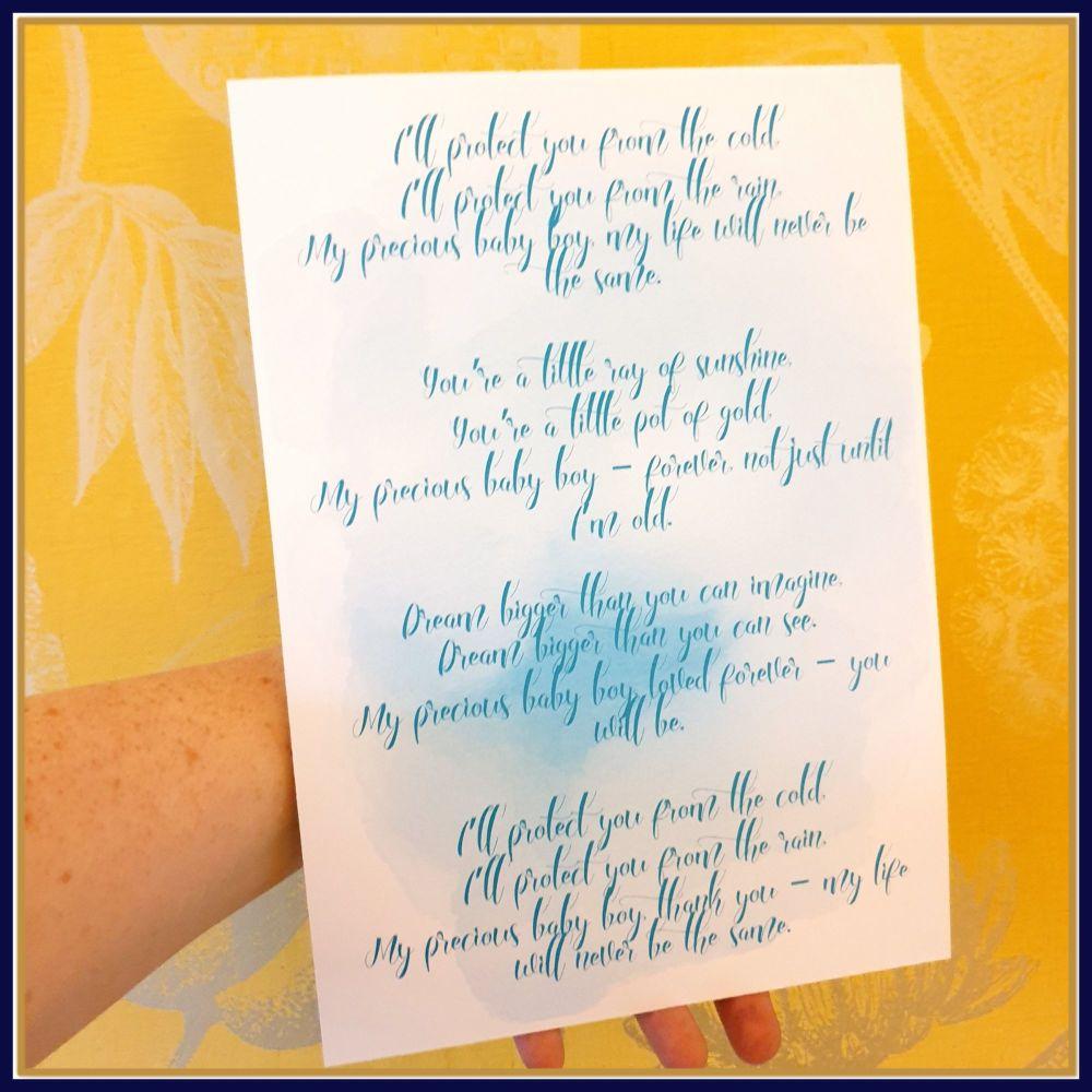 Boy's Nursery Poem Print - Watercolour Print For Boy's Nursery - Blue Baby
