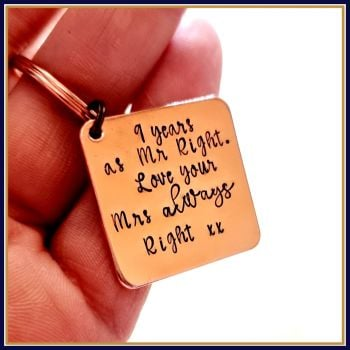 Mr Right Mrs Always Right Gift - Mr & Mrs Always Right Keyring - Funny Anniversary Gift For Him - Copper Anniversary Gift - Copper Keyring