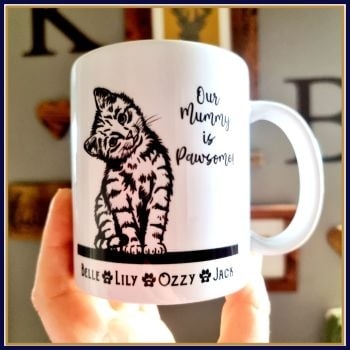 Personalised Ceramic Monochrome Cat Mum Mug - Pawsome Mum Gift - Gift For Cat Lover - Cat Owner Gift With Cat Names - Cute Cat Mug for Her