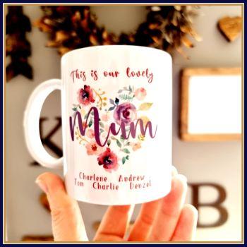 Personalised Mother's Day Mug With Children's Names - Mother's Day Mug For Mum - Mother's Day Gift For Grandma - Floral Mum Flower Mug Gift