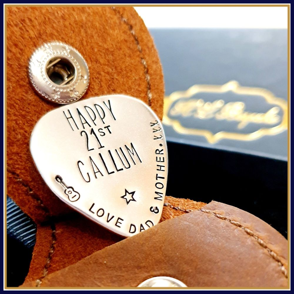 Personalised Sterling Silver 21st Birthday Guitar Pick Gift With Leather Ca