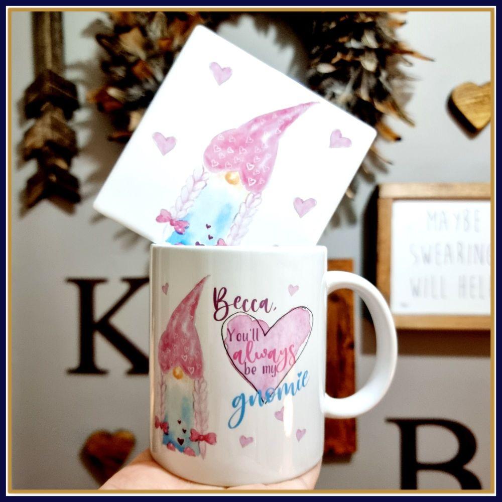 Personalised Pink Gnome Mug & Coaster Friend Gift Set - Always Be My Gnomie
