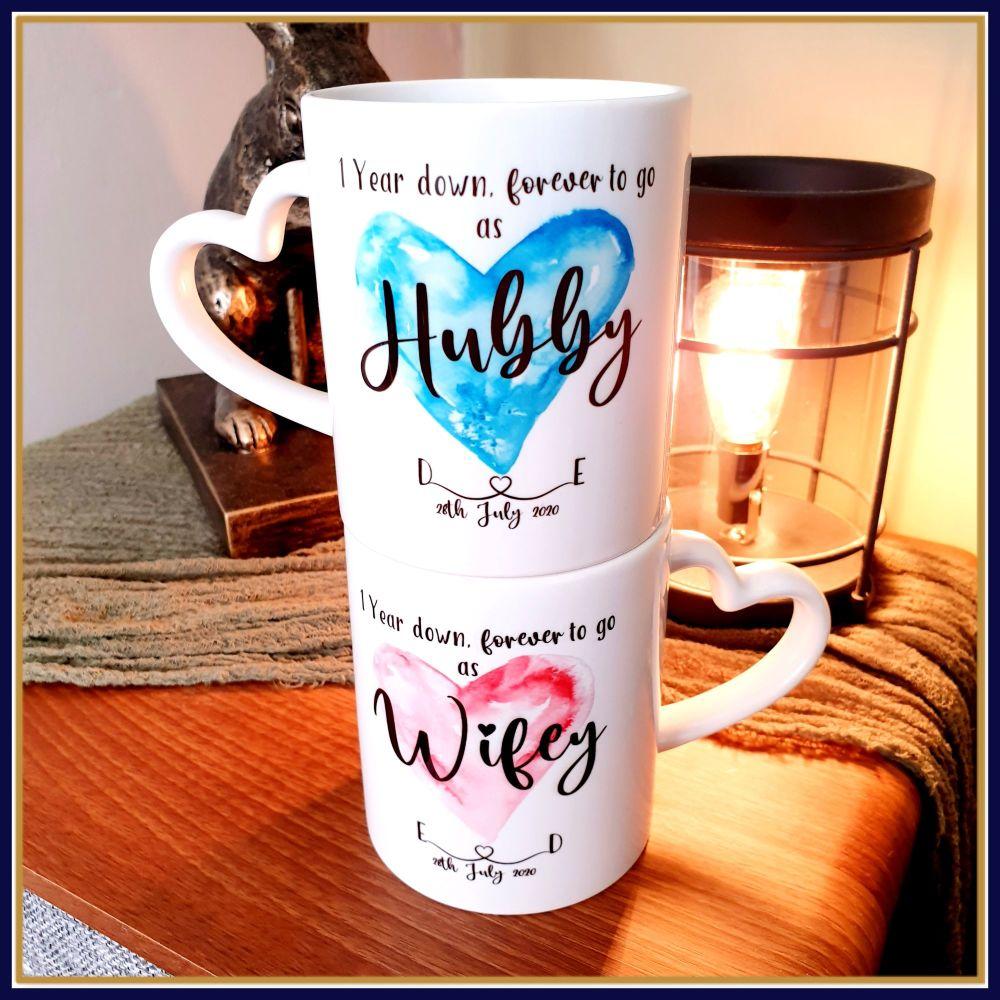 Personalised Wedding Annivery Mug Set - 1st Year Anniversary Heart Handle M