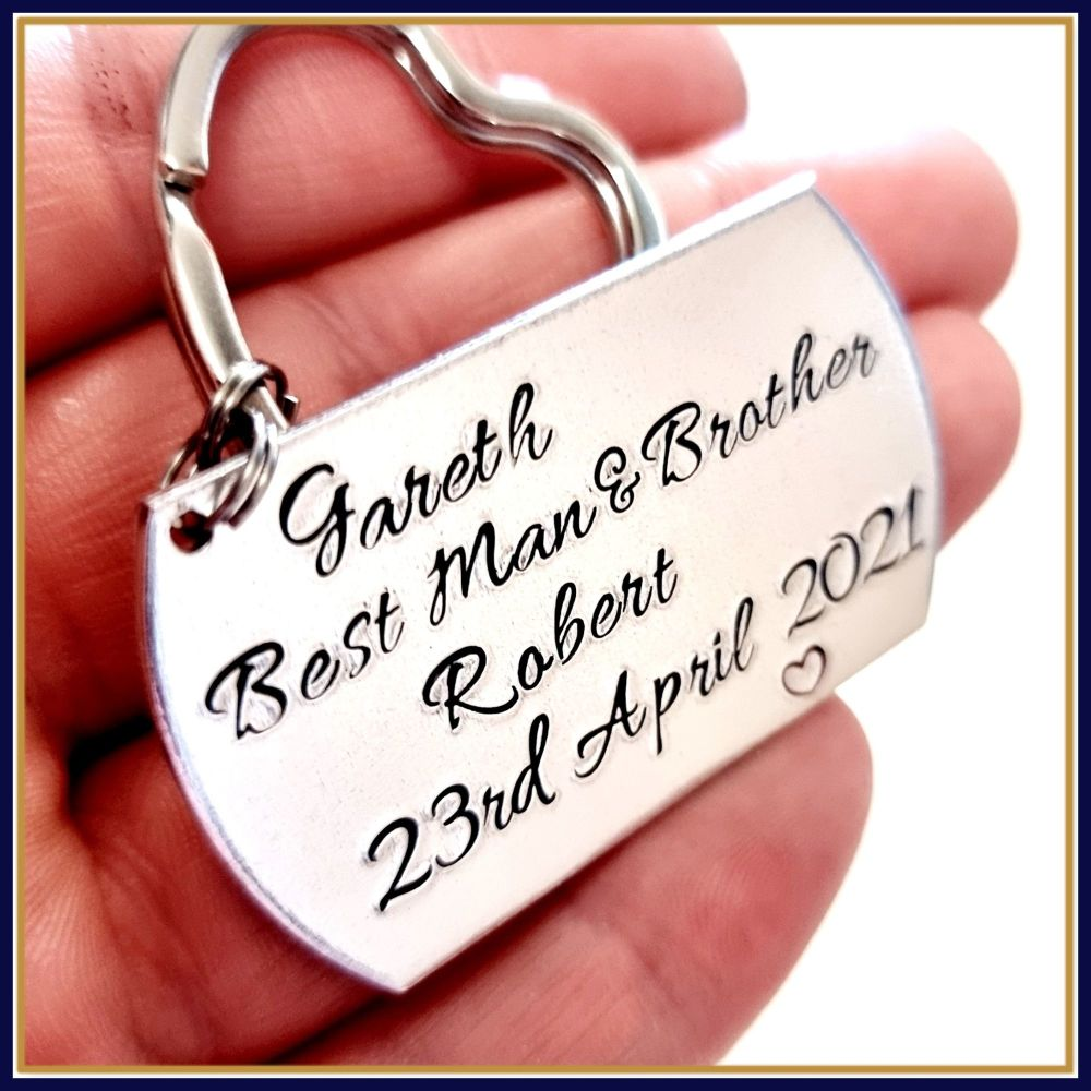 Personalised Best Man Gift - Thank You Best Man - Wedding Gift Keyring - Br