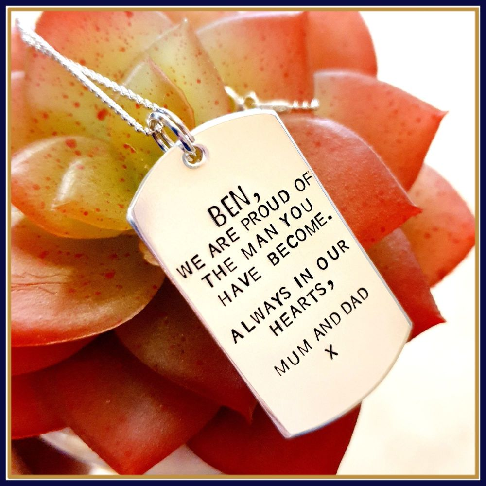 Personalised Sterling Silver Dog Tag Necklace - Personalised Gifts For Him