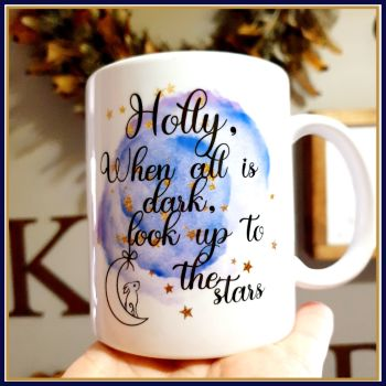 When All Is Dark Look Up At The Stars Mug - Hare and Moon Mug Gift - Make A Wish Mug - Dream Gift - Stars and Moon - Stocking Filler Mug