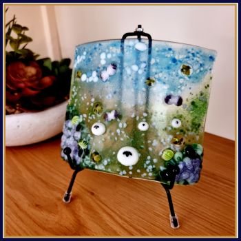 Medium Fused Glass Meadow Art With Purple Hydrangea Flowers - Fused Glass Sheep Home Decor - Pretty Colourful Bee Flowers Glass Suncatcher