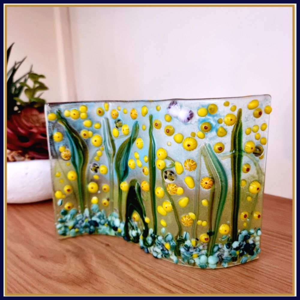 Large Freestanding Sunflower Meadow Fused Glass Tea Light Candle Wave Art W