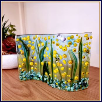 Large Freestanding Sunflower Meadow Fused Glass Tea Light Candle Wave Art With Bees - Fused Glass Bee Art - Yellow Home Decor Sun Catcher
