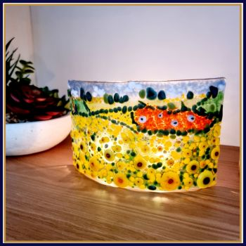 Large Freestanding Rural Countryside Fused Glass Wave Art With Sunflowers & Sheep - Fused Glass Sheep Art - Fused Glass Sunflower Home Decor