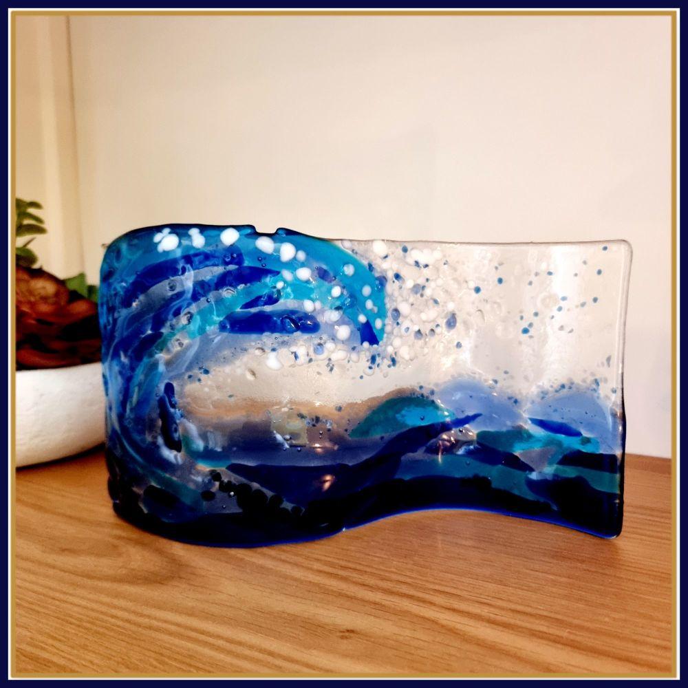 Large Freestanding Fused Glass Crashing Wave Art - Blue Coastal Fused Glass