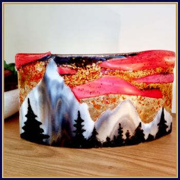 Large Freestanding Fused Glass Mountain Range Art - Sunset Mountain Home Decor - Mountain Scene Glass Wave Candle Art Decor - Sunset Art