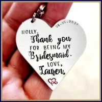 Personalised Bridesmaid Gift - Bridesmaid Godmother Keyring - Bridesmaid Keychain - Thank You For Being My Bridesmaid - Heart Bridesmaid
