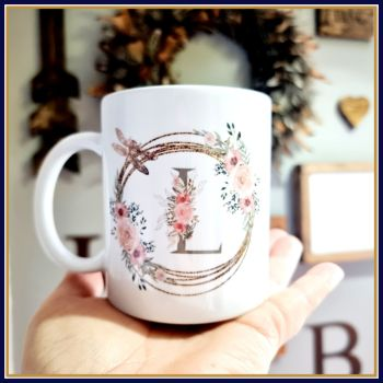 Personalised Initial Mug With Floral Detail - Pretty Pink Birthday Initial Mug Gift for Friend - Mug With Initial For Friend's Birthday
