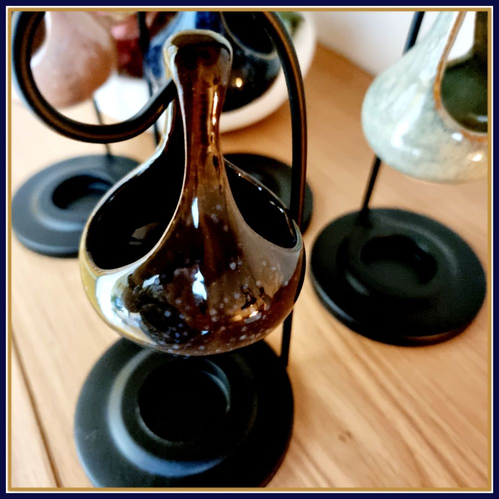 Dark Black Brown Blue Wax Melt Burner With Metal Frame & Melt Samples - Wax