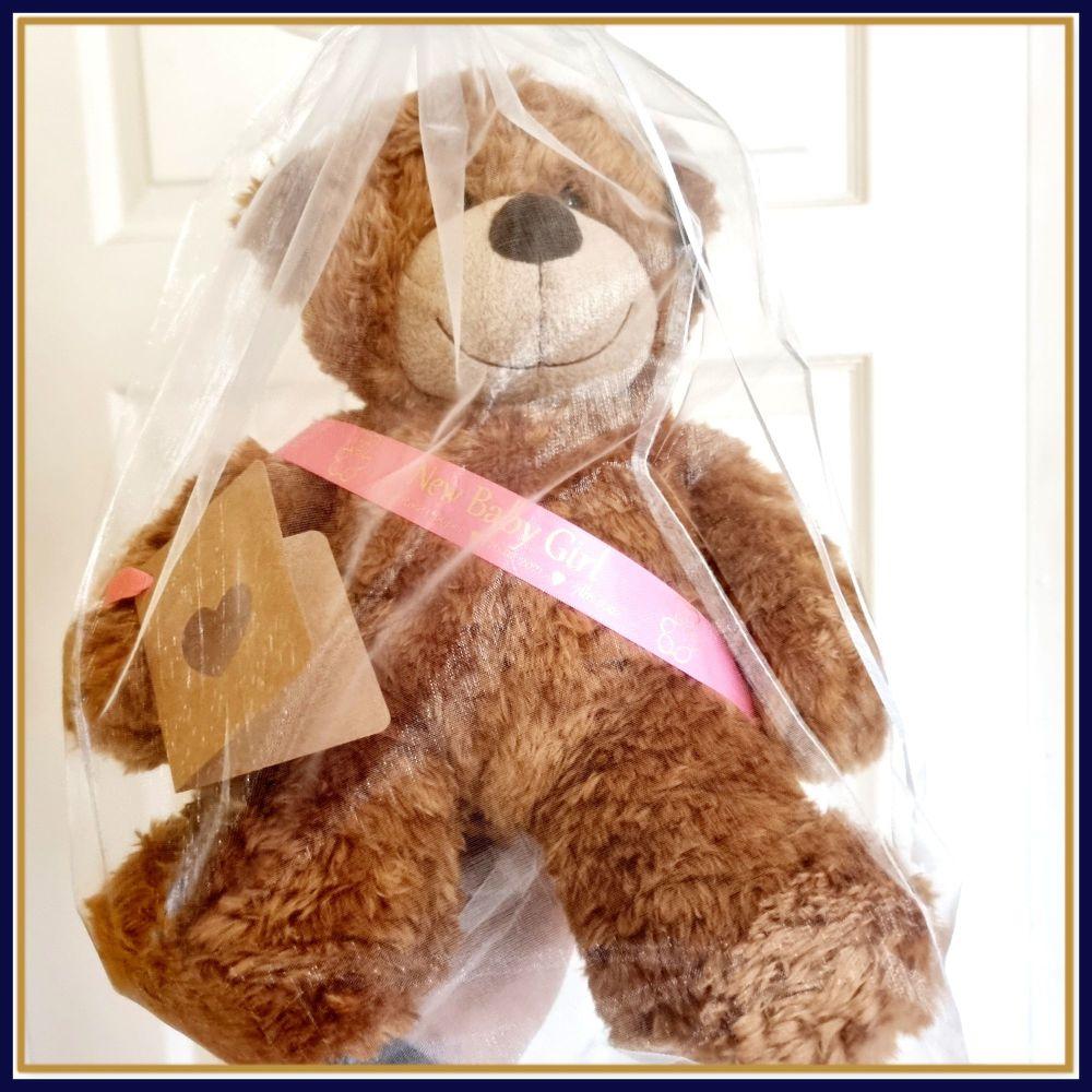 Personalised New Baby Girl Teddy Bear - 33cm Brown Bear With Sash - Teddy B