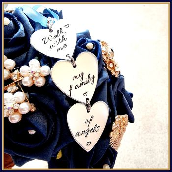 Memorial Bridal Bouquet Charm - Walk With Me My Family Of Angels - Something Blue Wedding Bouquet Charm, Wedding Memorial Bouquet Charm - Memory Charm