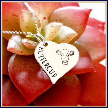 Personalised Heart Shaped Pendant With Cow Head & Name - Cow Pendant Jewellery - Personalised Cow Necklace - Cow Jewellery Gift For Friend