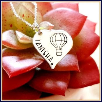 Personalised Heart Shaped Pendant With Hot Air Balloon & Name - Hot Air Balloon Pendant Jewellery - Personalised Hot Ait Balloon Necklace