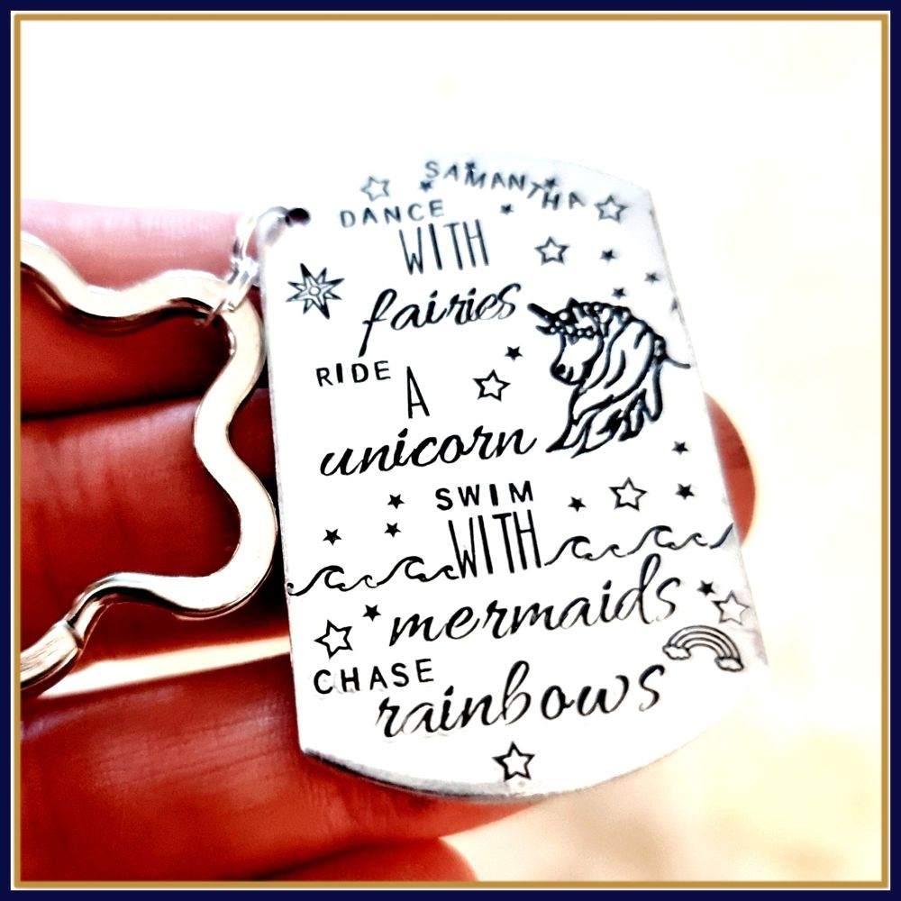 Dance With Fairies Gift - Ride A Unicorn - Swim With Mermaid Keyring - Chas