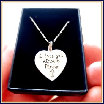 Pregnant Mothers Day Gift - Mothers Day Necklace - Pregnancy Pendant - I Love You Already - From The Bump - Mothers Day Gift From Baby