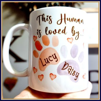 Personalised This Human Belongs To Mug - Mug Gift For Dog Mum - Mother's Day Gift From The Dogs - Paw Print Mother's Day Gift With Dog Names