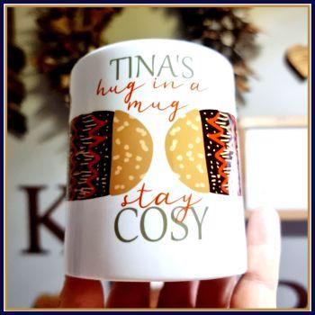 Personalised Autumn Cosy Mug Gift - Winter Stay Cosy Hug In A Mug - Autumnal Coloured Mug - Cosy Winter Mittens Mug - Cosy Christmas Mug