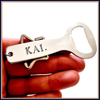 Personalised Simple Name Bottle Opener With Star Detail - Personalised University Bottle Opener - Name Gift For Him - Drinks Gift For Her