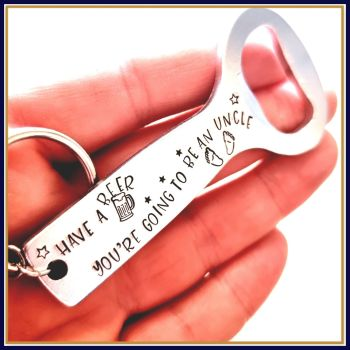 Personalised Pregnancy Announcement Gift For Uncle Bottle Opener - You're Going To Be An Uncle Gift - Going To Be A Grandad Bottle Opener