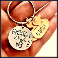 Personalised Daddy Duck Keyring - Papa Duck Keychain - Duck Gift - Pappa Duck Gift - Dadda Duck and Duckling Gift - Dad & Baby Gift - Dad