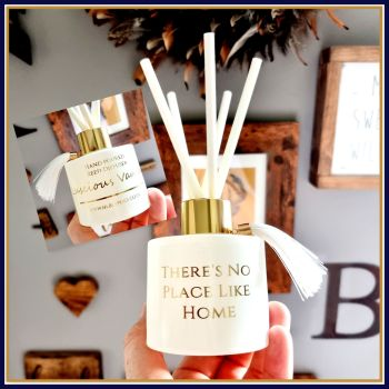 Personalised White & Gold Reed Diffuser New Home Gift - Quote There's No Place Like Home Gift - Highly Scented Reed Diffuser Gift First Home