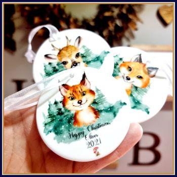 Personalised Ceramic Woodland Christmas Tree Decoration - Woodland Animal Christmas Ornament - Children's Woodland Christmas White Ornament