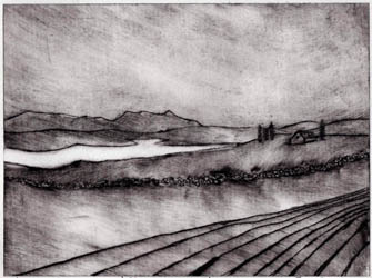 Storm Over Skye - a drypoint etching by Jane Duke