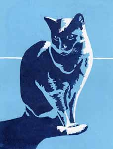 linoprint of a cat