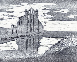 woodcut print of Whitby Abbey