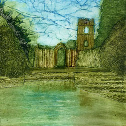 Fountains Abbey in Yorkshire, collagraph original print by Jane Duke