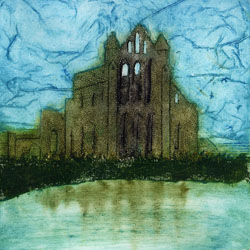 Whitby Abbey in Yorkshire, original collagraph print by Jane Duke.