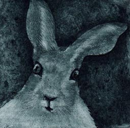Curious Hare, an original collagraph print by Jane Duke